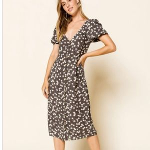 Amuse Society Midi Woven Floral Dress Boho